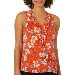 Alkamy Womens Mixed Floral Print Keyhole Neck Top