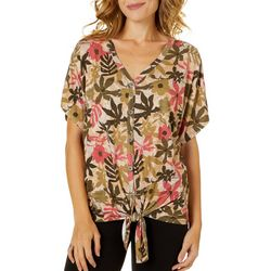 Alkamy Womens Floral Tie Front Button Down Short Sleeve Top
