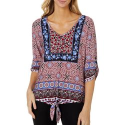 Alkamy Womens Mix Print Tie Front Top
