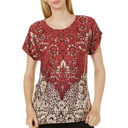 Alkamy Womens Floral Print Short Sleeve Top