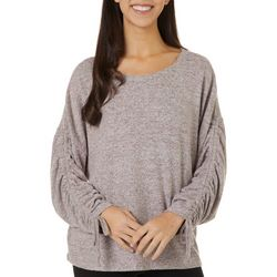 Alkamy Womens Heathered Solid Tie Sleeve V-Neck Top