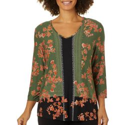 Alkamy Womens Floral Geometric Print V-Neck Top