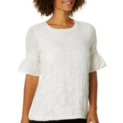 RXB Womens Textured Floral Bell Sleeve Top
