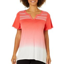 RXB Womens Ombre Puff Print Top
