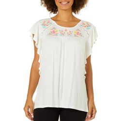RXB Womens Embroidered Floral Ruffle Top
