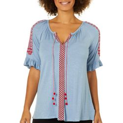RXB Womens Embroidered Tie Neck Ruffle Top