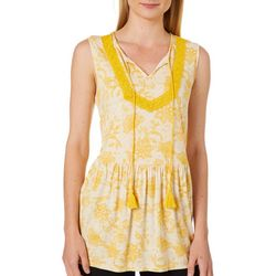 RXB Womens Floral Print Crochet and Tassel Neck Top