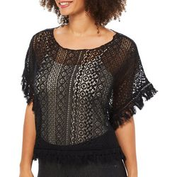 RXB Womens Sheer Lace Fringe Poncho Top