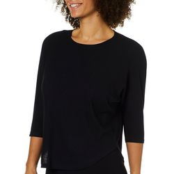 RXB Womens Solid Ribbed Knit Top