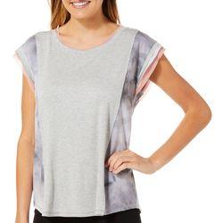 B.L.E.U. Womens Colorblock Layered Sleeve Top