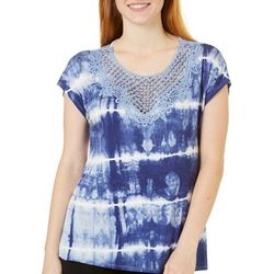 B.L.E.U. Womens Embroidered Pearl Tie Dye Top