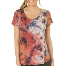 B.L.E.U. Womens Back Bow Tie Dye Top