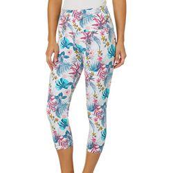 Khakis & Co Womens Tropical Floral Capri Leggings