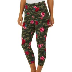 Khakis & Co Womens Floral Camo Capri Leggings