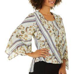 Flint & Moss Womens Floral Striped Faux-Wrap Top