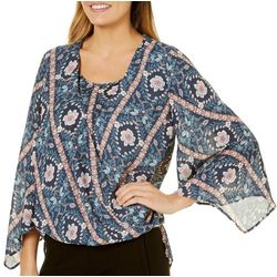 Flint & Moss Womens Boho Floral Faux-Wrap Top