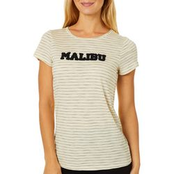 Cupio Womens Embellished Malibu Thin Striped Top