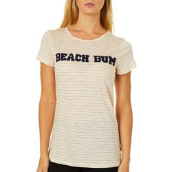 Cupio Womens Embellished Beach Bum Thin Striped Top