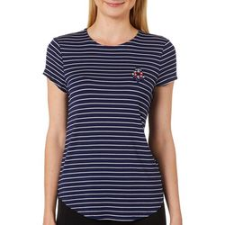 Cupio Womens Embellished Anchor Striped Top