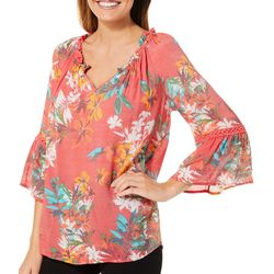 Spense Womens Tropical Floral Ruffle Neck Top