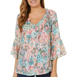 Spense Womens Paisley Print Split Neck Top