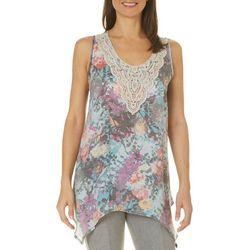 Spense Womens Floral Crochet Sleeveless Top