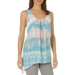 Spense Womens Mixed Medallion Crochet Pom Pom Top