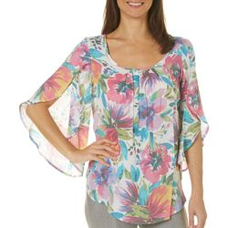 Spense Womens Floral Split Sleeve Top