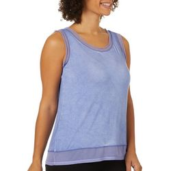 Cable & Gauge Womens Mineral Wash Sheer Hem Tank Top