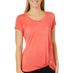 Cable & Gauge Womens Mineral Wash Twist Front Top