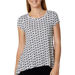 Cupio Womens All Over Cat Print Top