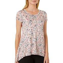 Cupio Womens Floral Bunny Rabbit Print Top