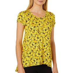 Cupio Womens Tropical Banana Print Top