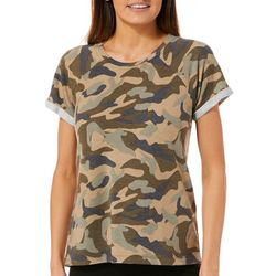Cable & Gauge Womens Camo Print Short Sleeve Top