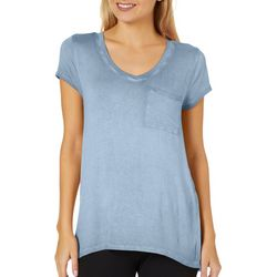 Cable & Gauge Womens Mineral Wash Pocket T-Shirt