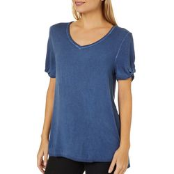 Cable & Gauge Womens Mineral Wash Twist Sleeve T-Shirt