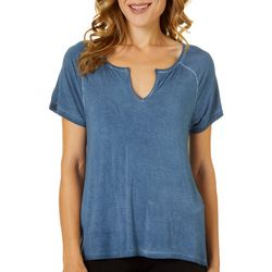 CG Sport Womens Solid Mineral Wash Short Sleeve Top
