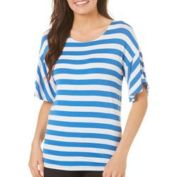Cable & Gauge Womens Striped Bell Sleeve Top
