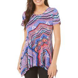 Cable & Gauge Womens Kaleidoscope Print Sharkbite T-Shirt