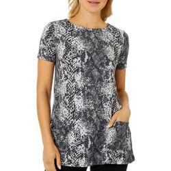 CG Sport Womens Snakeskin Print Roll Cuff Short Sleeve Top