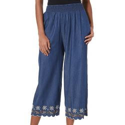 Crimson In Grace Womens Embroidered Chambray Crop Pants