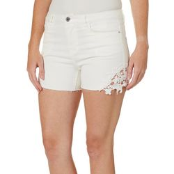 Vero Moda Womens Solid Lace Detail Denim Shorts