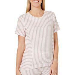 Vero Moda Womens Striped Woven Short Sleeve Top