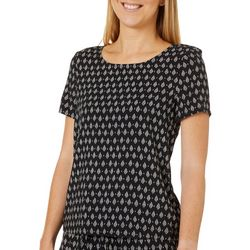 Vero Moda Womens Geometric Diamond Short Sleeve Top
