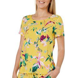 Vero Moda Womens Tropical Floral Short Sleeve Top