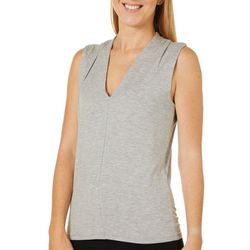 Vero Moda Womens Solid Knit V-Neck Sleeveless Top