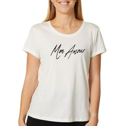 Vero Moda Womens Mon Amour Graphic Short Sleeve Top