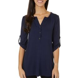 Fred David Womens Solid Button Placket Roll Tab Sleeve Top
