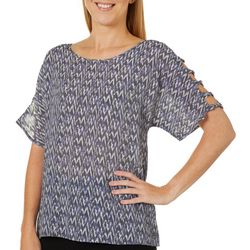Como Blu Womens Graphic Chevron Lattice Sleeve Top