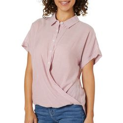 Como Vintage Womens Striped Print Twist Front Cap Sleeve Top
